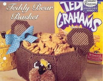Teddy Bear Basket ~ plastic canvas pattern  ~  The Needlecraft Shop