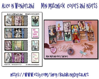 Alice in Wonderland, 4 matchbox covers and matching inserts,   INSTANT  Download at Checkout,  tiny gift boxes, altered matchboxes,shrines