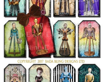 Antique Cage Dolls & Santos,  3 x 2 gift tags, INSTANT Digital Download at Checkout,religious collage sheets, shrines, antique Santos