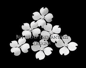 White Hair Flowers, Bridal Bridesmaid Accessories, Hairpiece, Beach Wedding Gift - 6 White Hazel Dogwood Flower Hair Pins - Rhinestone