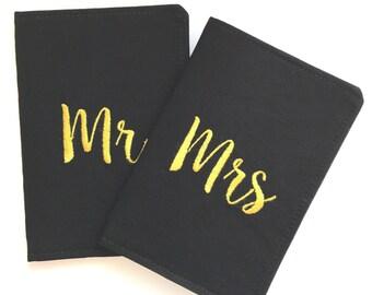 Mr and Mrs Passport Cover Holder Set, Travel Gift, Husband Gift, Wedding Gift, Destination Wedding