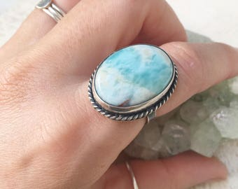 Larimar oval statement ring // size 7.25 //one of a kind // made in byron bay // recycled sterling silver