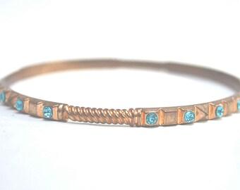 Crystal Bracelet, Copper Bangle, Vintage Bangle, Blue Crystal Bangle, 1960's Bracelet, Vintage Bracelet, Rhinestone Bangle