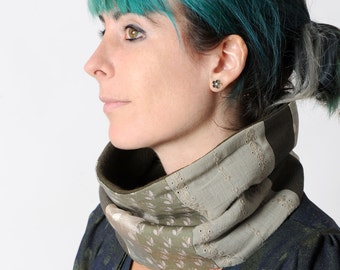 Grey and green Cowl scarf, Light green fabric patchwork snood, Womens cowl scarf, Womens Winter accessories, khaki green scarf, MALAM