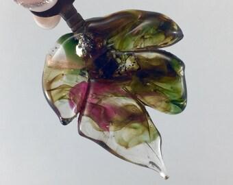 Glass leaf pendant, antique key, vintage key , lampwork leaf key, goldstone glass leaf,lampwork, tiny skeleton key, sculptured glass leaf,