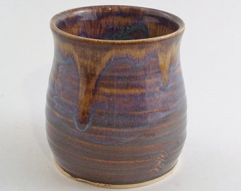Small Utensil Crock - Ceramic Succulent Planter - Stoneware Pot - Open Pottery Jar - Ready to Ship - Iron Lustre - Tan Browns Blues v613
