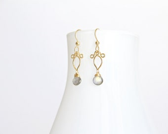 Arabella - Petite Labradorite Gold Filled Earrings | Delicate Dangles