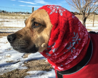 Plush polar fleece Snood for Dog - size MEDIUM - snood for dog, neck warmer for dog, ear cover for dog, extra soft RED with Snowflakes