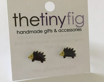 Last pair* Small Hedgehog Earrings | Sterling Silver Posts Studs | Gifts For Her