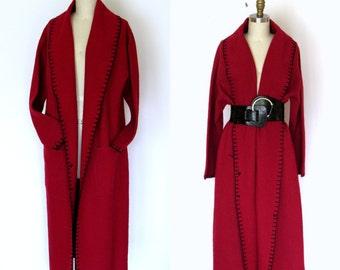 Long Wool Coat Red Coat Women Wool Coat Long Winter Coat Womens Winter Coat Autumn Coat Fall Coat Gift