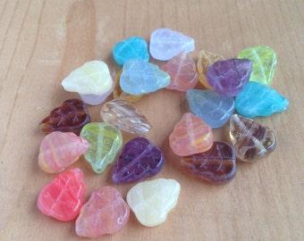 Glass Leaf Beads Czech Autumn Mix Amber White Mint Green Purple Aqua Rose