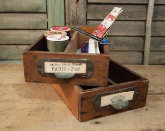 Last one Free Shipping Vintage Industrial Divided Drawer Box Wood for organization or display
