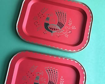 2 Tin Peacock Trays • Red, Black + Gold Tone Color