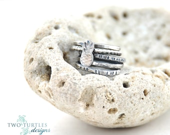 The Glass Turtle - PIÑA COLADA  - 5 Sterling Silver Stacking RINGS
