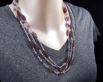 Amethyst and Czech Glass Triple Chain Necklace