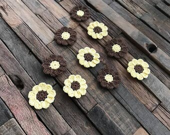Crochet Flower Appliques, Mini Daisies, Small Flowers, Yellow & Brown Daisies, Flower Embellishments, Decorations - Set of 10 – 1.25 inches