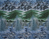 VINTAGE Fabric Border Print Novelty Winter Mountain Naturescapes Hoffman fabric screen print