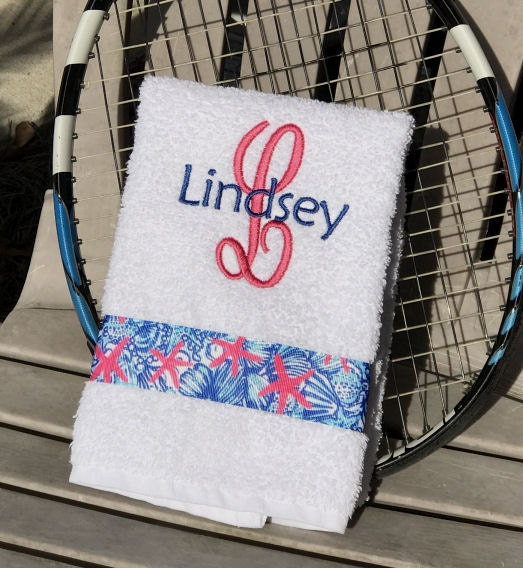 Tennis Gift Hand Towel Personalized Initial And Name Lilly