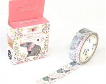 Animal Washi tape, Rhino Washi Tape, Rhinoceros in Love Washi Tape, 1 Roll Floral Animal Washi Tape, Kawaii Washi Tape, Kawaii Animal Tape