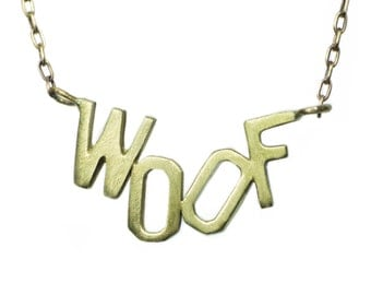 WOOF Necklace in Brass with Gold Fill Chain