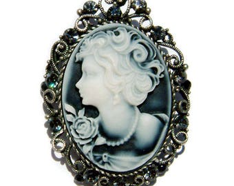 Swarovski Crystal Black 2 in 1 Victorian Style CAMEO Princess Queen Gothic Pin Brooch Jewelry Bridal Wedding BFF Mother's Day Christmas Gift