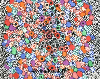 Original Wall Art design Drawing Abstract Zen Colorful mesmerizing Bold