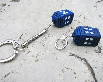 Doctor Who TARDIS Keychain/Keyring or Stitch Marker