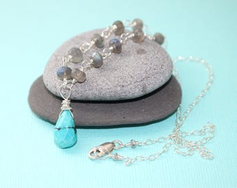 Turquoise and Labradorite Necklace Wire Wrapped Necklace