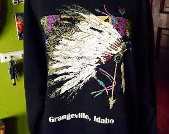 Vintage 1980's Idaho Navajo Native American black pullover sweatshirt. size Large