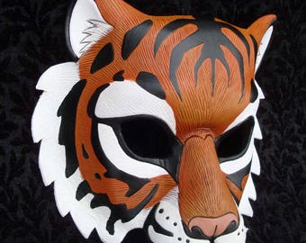 RESERVED for TheOneInRed ... custom  Red Bengal Tiger leather mask