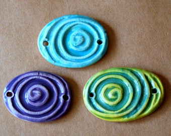 3 Handmade Ceramic Beads - Large Spiral Cuff Beads in Spring Colors