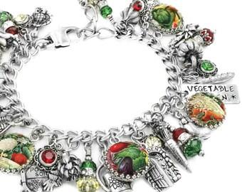 Vegetable Garden, Garden Jewelry, Garden Bracelet, Vegetable Charm Bracelet, Personalized Garden Charms, Personalized Garden