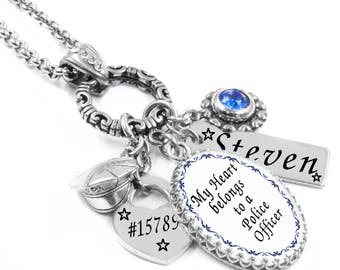 Police Officer Necklace, Police Officer Wife, Police Badge, Law Enforcement Gift, Police Officer Mom, Law Enforcement Necklace