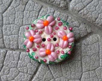 Pink Floral Green Handmade Glass BUTTON Lampwork Beads by Cherie Sra R114 Flameworke Glass Black 2 hole button Pink Floral Spring Button