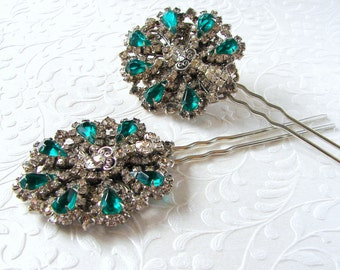 Vintage Jewelry Hairpiece Green Rhinestone Hair Comb Jeweled Fork Emerald Wedding Bridal Formal Evening Pageant Ballroom Prom | 2 Available