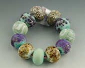 Turquoise and Purple Mix and Match - Handmade Lampwork Glass Bead Set