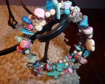 Colorful Memory Wire Wrap Bracelet, Shell Beads, Crystals, Flower Beads, Gem Chunks, Turtle Bead, Cross Bead, Metal Spacers,Cute Charms