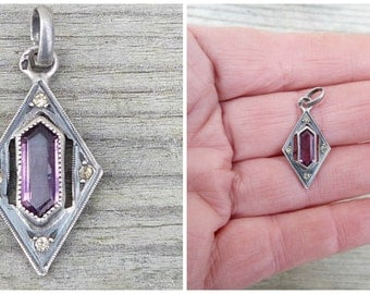 Vintage Antique French 1920  Art deco sterling amethyst and marcassite pendant necklace