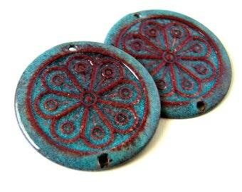 Blue Enamel Round Disc Charms