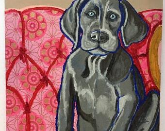 Weimeraner Puppy on Pink Chair Original Painting Collage