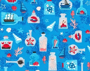 """Ships in a bottle on Blue by Pink Light Design, """"Seaside Treasures""""  for Robert Kaufman, yard"""