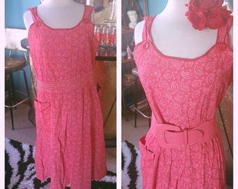 Vintage 1940s Dress pink red paisley print sleeveless Swing Rockabilly Pinup L XL 40s VLV