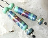 Blue Lagoon, Lampwork Bead Set, Earring Pair,  handmade glass beads, beads by Beadfairy SRA