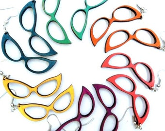 Vintage cat eye glasses wood earrings - Choose your color