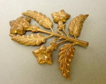 2 Vintage Brass Flower Leaf Branch Stampings