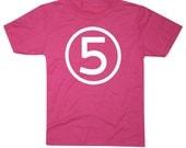 Kids CIRCLE Fifth Birthday T-shirt - Hot Pink 5th Birthday Shirt