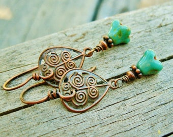 Czech Glass Flower Buds and Antiqued Copper filigree - wire wrapped dangle earrings