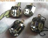 ON SALE 18% Off Swarovski Black Diamond 12x10mm Octagon Article 4600 Brass Ox Glass Drops 4 Pcs