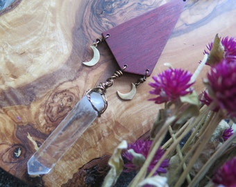 Raw Clear Quartz Crystal Statement Necklace - Black Pink Red - Dreamcatcher Inspired - Long Boho Gypsy Jewelry - Brass Moon Wood Pendant