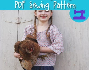 PDF SEWING PATTERN - The Ramblin' Raglan Mega Pack - size 18-14 - peasant top, hippie dress, elastic neckline, girls dress, simple dress